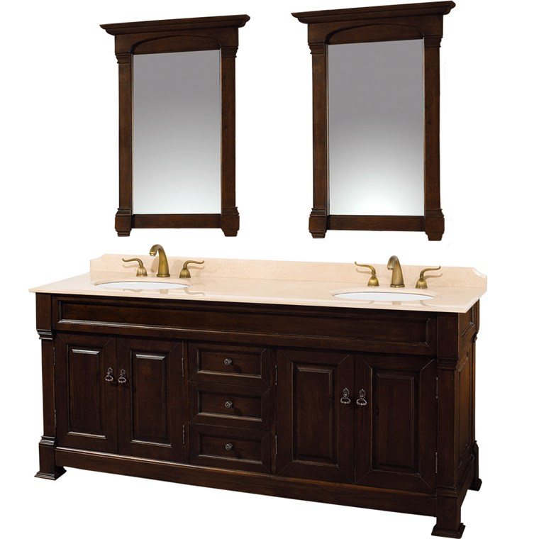 "Andover 72"" Traditional Bathroom Double Vanity Set by Wyndham Collection - Dark Cherry WC-TD72-DKCH"
