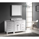 "Virtu USA 57"" Caroline Parkway Single Bathroom Vanity with Italian Carrara White Marble with Shelves on Right - White MS-2157R-"
