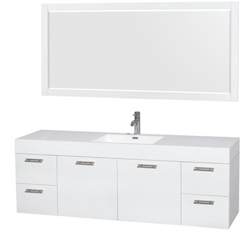 """Amare 72"""" Wall-Mounted Single Bathroom Vanity Set with Integrated Sink by Wyndham Collection, Glossy White... by Wyndham Collection®"""
