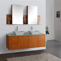 "Virtu USA Clarissa 61"" Double Sink Bathroom Vanity - Honey Oak MD-457"