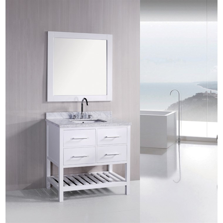 "Design Element London 36"" Bathroom Vanity with Open Bottom, White Carrera Countertop, Sink and Mirror - Pearl White DEC077A-W"