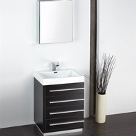 "Fresca Livello 24"" Black Modern Bathroom Vanity with Medicine Cabinet FVN8024BW"