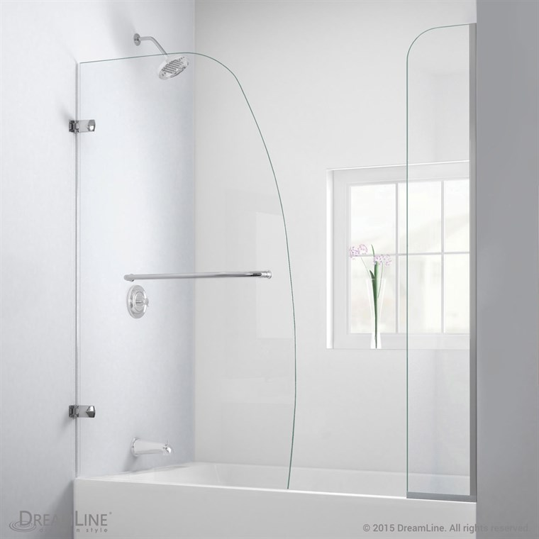 "Bath Authority DreamLine Aqua Uno Framless Hinged Tub Door (56"" - 60"") with Extender Panel SHDR-3534586-EX"