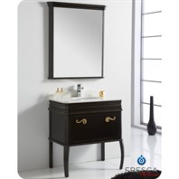"Fresca Platinum London 32"" Antique Black Bathroom Vanity with Swarovski Handles FPVN7524AB"