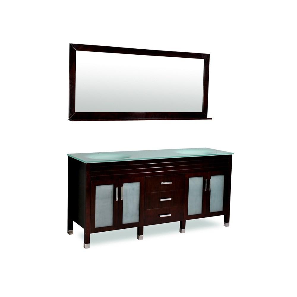 "Belmont decor Dayton 72"" Double Sink Vanity Set with Aqua Marine Tempered Glass Countertop - Espressonohtin Sale $1399.00 SKU: DM1D3-72-ESP :"