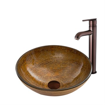 Vigo Cappuccino Swirl Glass Vessel Sink and Seville Faucet Set in Oil Rubbed Bronze VGT857 by Vigo Industries