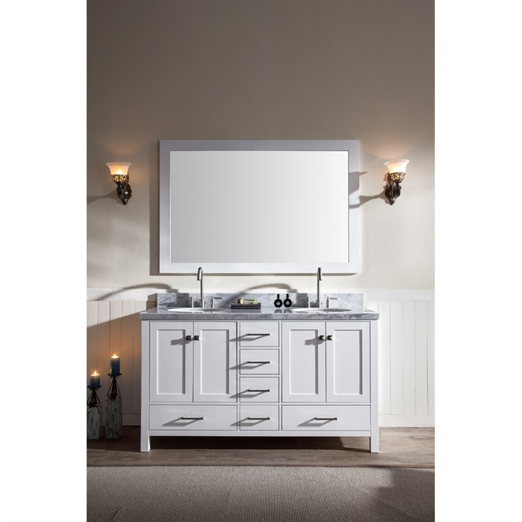 "Ariel Cambridge 61"" Double Sink Vanity Set with Carrera White Marble Countertop - White A061D-WHT"