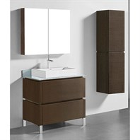 "Madeli Metro 36"" Bathroom Vanity for Glass Counter and Porcelain Basin - Walnut B600-36-001-WA-GLASS"