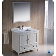 "Fresca Oxford 36"" Traditional Bathroom Vanity - Antique White FVN2036AW"