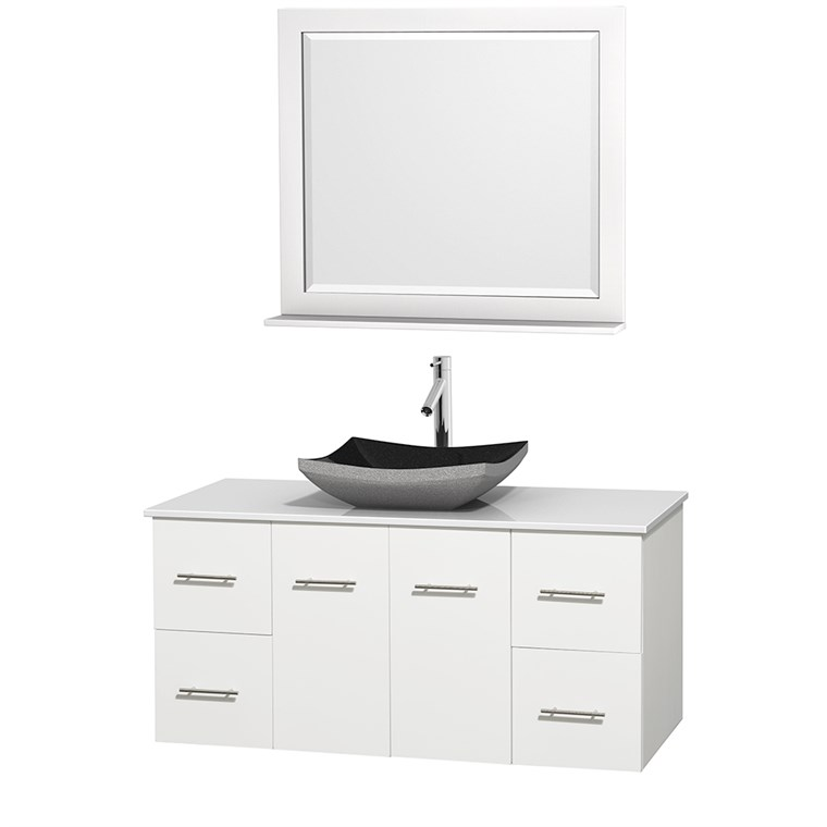 "Centra 48"" Single Bathroom Vanity for Vessel Sink by Wyndham Collection - Matte White WC-WHE009-48-SGL-VAN-WHT_"
