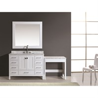 "Design Element London 48"" Vanity Set with Make-up Table - White DEC082C-W_MUT-W"