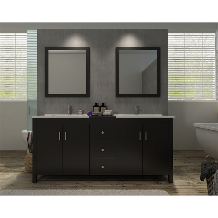 "Ariel Hanson 72"" Double Sink Vanity Set with Black Granite Countertop - Espresso K072D-ESP"