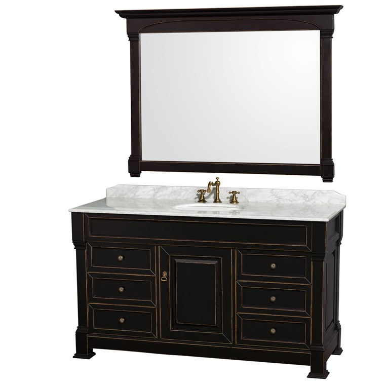 "Andover 60"" Traditional Bathroom Single Vanity Set by Wyndham Collection - Black WC-TS60-SGL-VAN-BLK"