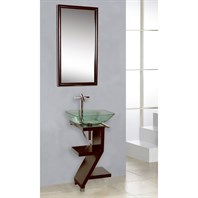 Bath Authority DreamLine Wood Base Petite Powder Room Vanity with Mirror and Sink - Mahogany DL-8181M17-MH