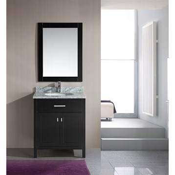 "Design Element London 30"" Single Vanity with White Carrera Countertop, Sink and Mirror, Espresso DEC076E by Design Element"