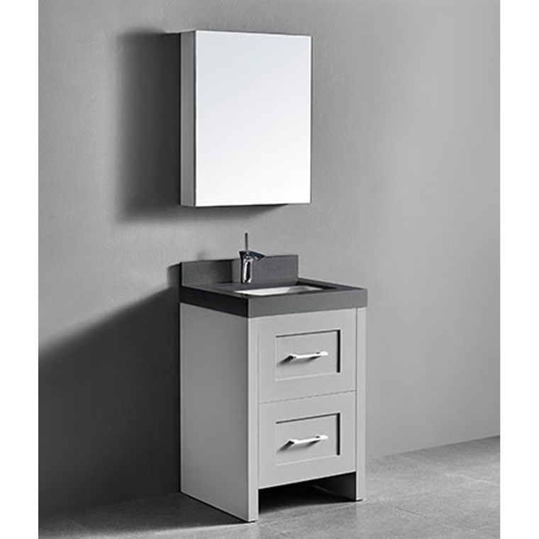 "Madeli Retro 24"" Bathroom Vanity for Quartzstone Top - Whisper Grey B700-24-001-WG-QUARTZ"