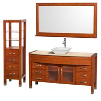 "Daytona 60"" Bathroom Vanity with Vessel Sink, Mirror and Cabinet by Wyndham Collection - Cherry WC-A-W2109T-60-CH-SET"