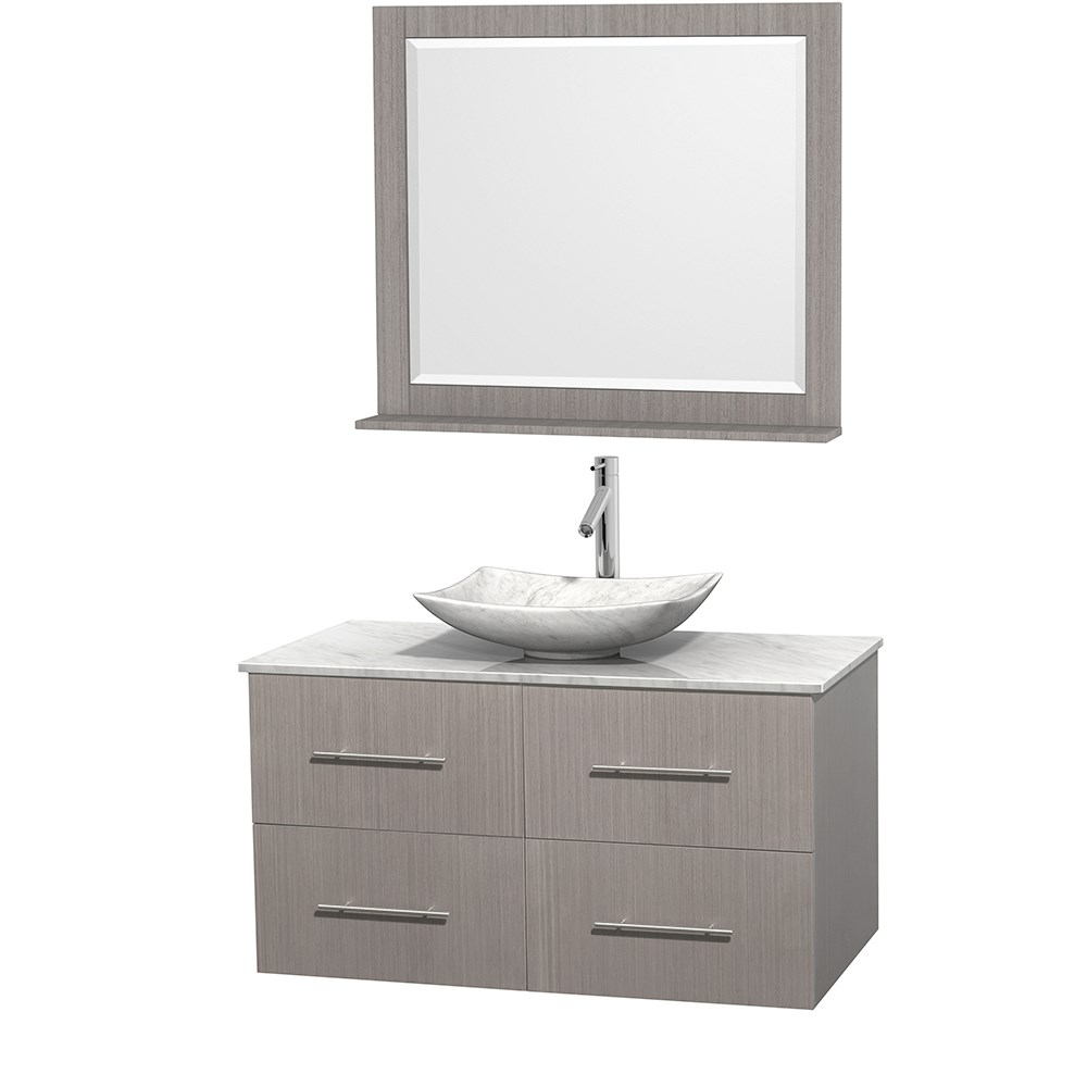 "Centra 42"" Single Bathroom Vanity for Vessel Sink by Wyndham Collection - Gray Oak WC-WHE009-42-SGL-VAN-GRO_"