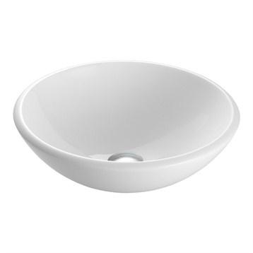 Vigo White Phoenix Stone Glass Vessel Sink, Rounded Edge VG07039 by Vigo Industries