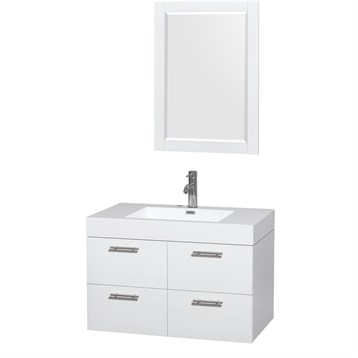 """Amare 36"""" Wall-Mounted Bathroom Vanity Set With Integrated Sink by Wyndham Collection, Glossy White... by Wyndham Collection®"""