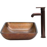 VIGO Rectangular Russet Glass Vessel Sink and Faucet Set in Oil Rubbed Bronze VGT300