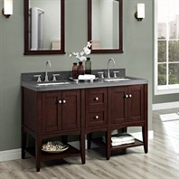 "Fairmont Designs Shaker Americana 60"" Vanity - Open Shelf for Quartz Top - Habana Cherry 1513-VH24-X2, 1513-DB12-H"