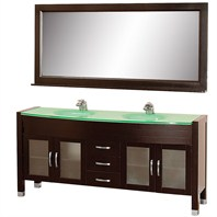 "Daytona 71"" Double Bathroom Vanity Set by Wyndham Collection - Espresso w/ Drawers WC-A-W2200-71-ESP"