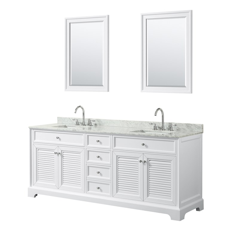 "Tamara 80"" Double Bathroom Vanity by Wyndham Collection - White WC-2121-80-DBL-VAN-WHT"