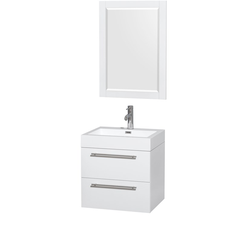 "Amare 24"" Wall-Mounted Bathroom Vanity Set with Integrated Sink by Wyndham Collection - Glossy White WC-R4100-24-VAN-WHT-"