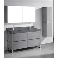 "Madeli Metro 60"" Double Bathroom Vanity for Quartzstone Top - Ash Grey B600-60D-001-AG-QUARTZ"
