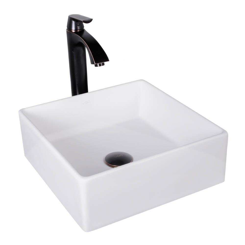 VIGO Bavaro Matte Stone Vessel Sink and Linus Bathroom Vessel Faucet in Antique Rubbed Bronze w/ Pop upnohtin Sale $249.90 SKU: VGT1002 :