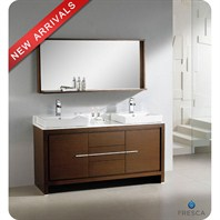 "Fresca Allier 60"" Wenge Brown Modern Double Sink Bathroom Vanity with Mirror FVN8119WG"