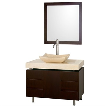 "Malibu 36"" Single Bathroom Vanity Set by Wyndham Collection, Espresso Finish with Ivory Marble Counter... by Modern Bathroom"