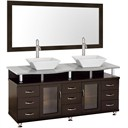 "Accara 72"" Double Bathroom Vanity with Mirror - Espresso w/ White Carrera Marble Counter B706D-72-ESP-WHTCAR"
