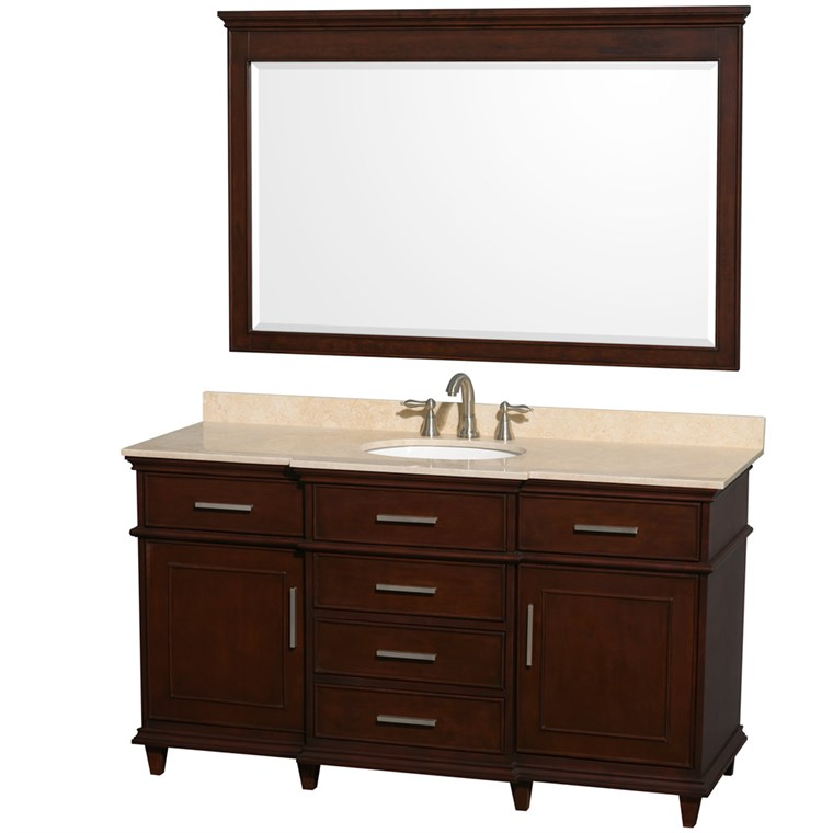 "Berkeley 60"" Single Bathroom Vanity by Wyndham Collection - Dark Chestnut WC-1717-60-SGL-CDK"