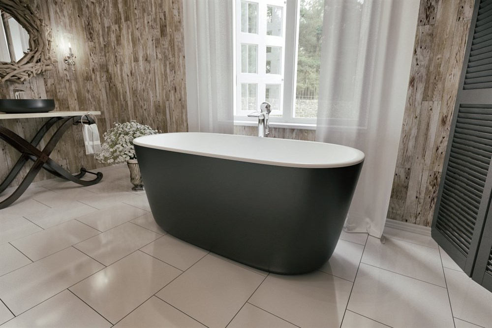 Aquatica Lullaby-Mini-Blck-Wht Freestanding Solid Surface Bathtub - Matte Black and White Aquatica PS602M-Mini-Blck-Wht
