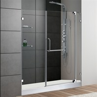 "VIGO 60-inch Frameless Shower Door 3/8"" Clear Glass Chrome Hardware with White Base VG6042CHCL60WM"