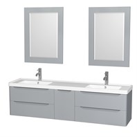 "Murano 72"" Wall-Mounted Double Bathroom Vanity Set with Integrated Sink by Wyndham Collection - Gray WC-7777-72-DBL-VAN-GRY"