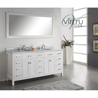 "Virtu USA 72"" Caroline Parkway Double Bathroom Vanity - White MD-2172-"