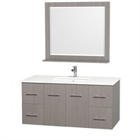 "Centra 48"" Single Bathroom Vanity Set by Wyndham Collection - Gray Oak WC-WHE009-48-GROAK"
