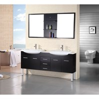 "Design Element Belini 72"" Double Bathroom Vanity Set - Espresso DEC078B"