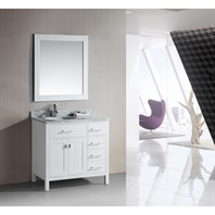 "Design Element London 36"" Single Vanity with Drawers on the Right - Pearl White DEC076DR-W-CB-36"