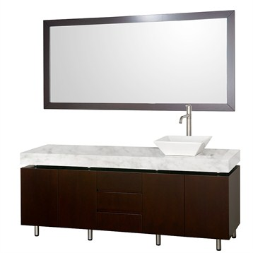 "Malibu 72"" Single Bathroom Vanity Set by Wyndham Collection, Espresso Finish with White Carrera Marble Counter... by Wyndham Collection®"