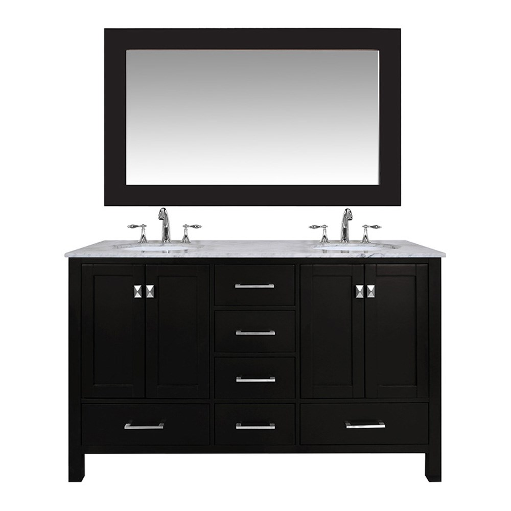 "Stufurhome 60"" Lissa Double Sink Bathroom Vanity - Espresso GM-6412-60-ESP"
