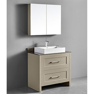"Madeli Retro 36"" Bathroom Vanity for Glass Counter and Porcelain Basin, Cashmere B700-36-001-CM-GLASS by Madeli"