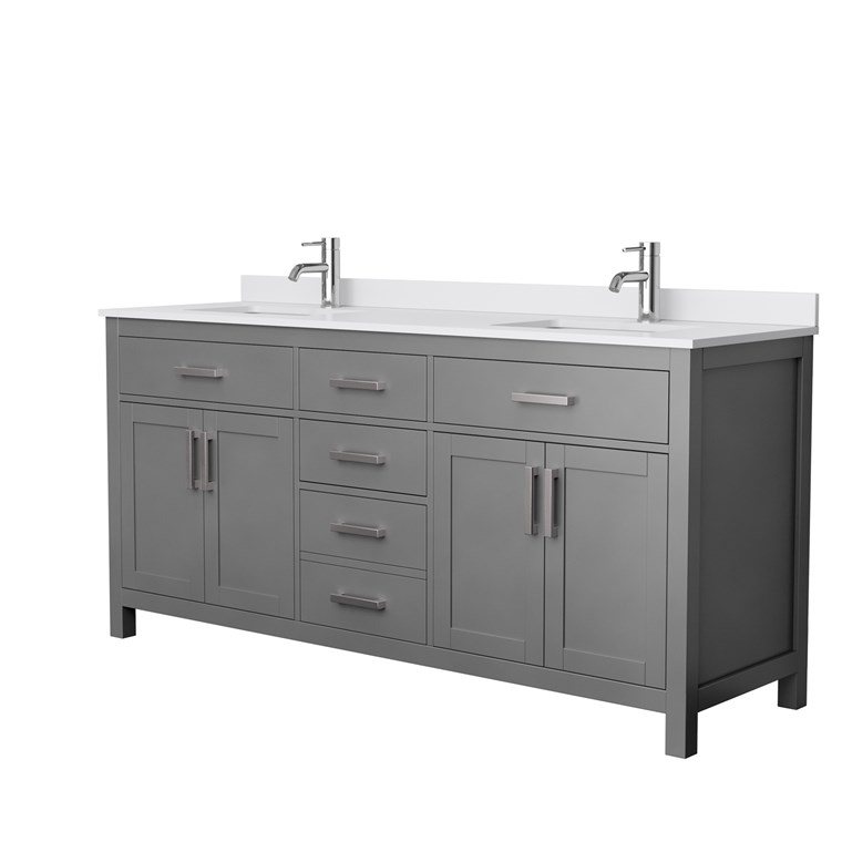 "Beckett 72"" Double Vanity by Wyndham Collection - Dark Gray WC-2424-72-DBL-VAN-DKG"