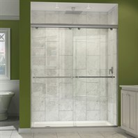 "Bath Authority DreamLine Charisma Frameless Bypass Sliding Shower Door and SlimLine Single Threshold Shower Base (34"" by 60"") DL-6942"