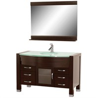 "Daytona 55"" Bathroom Vanity with Mirror - Espresso w/ Green Glass Counter"