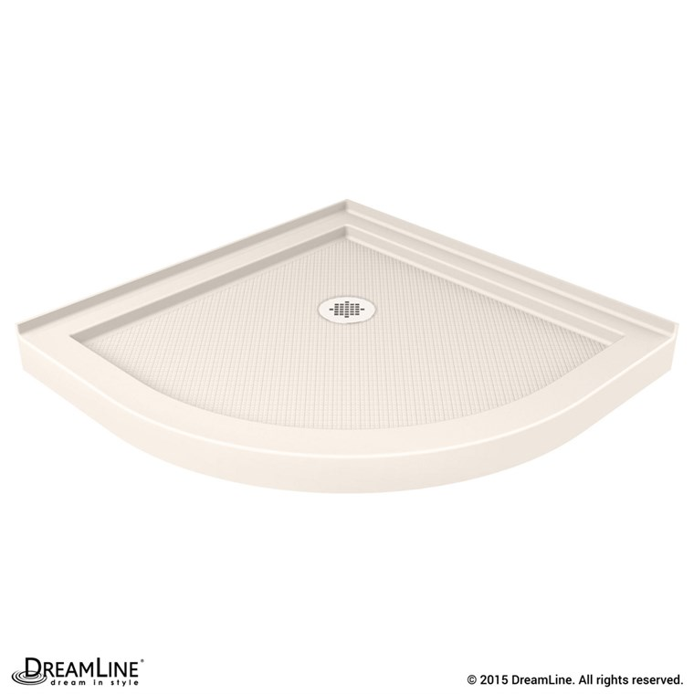 "Bath Authority DreamLine SlimLine Quarter Round Shower Base (33"" by 33"") - Biscuit DLT-7033330-22"