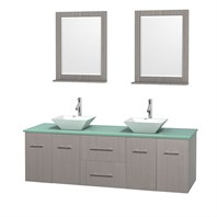 "Centra 72"" Double Bathroom Vanity Set for Vessel Sinks by Wyndham Collection - Gray Oak WC-WHE009-72-DBL-VAN-GRO"